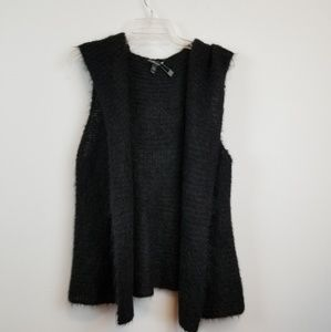 Eileen fisher alpaca/silk black knit  hoodie vest